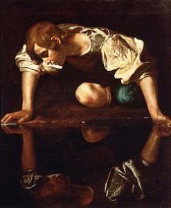 Narcyzm w rodzinie- rodzina narcystyczna. Narcissus-Caravaggio_(1594-96)